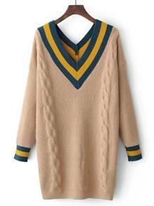 Vestido de estilo suéter de punto de cable con estampado