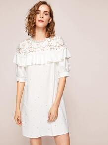 Floral Lace Shoulder Pearl Beading Flounce Dress