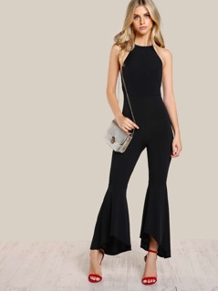 Halter Top Flare Leg Jumpsuit BLACK