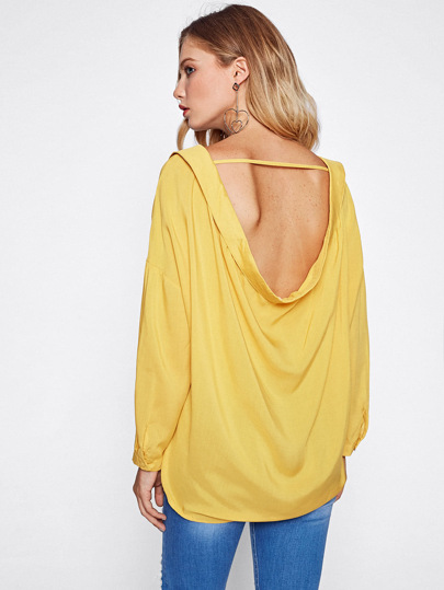 Drop Shoulder Open Back Blouse