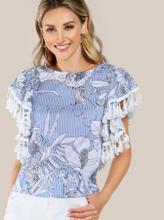 Tassel Trim Striped Printed Random Top