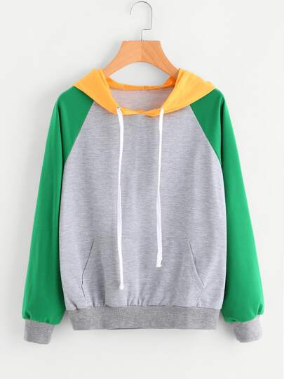 Contrast Sleeve Hooded Drawstring Sweatshirt