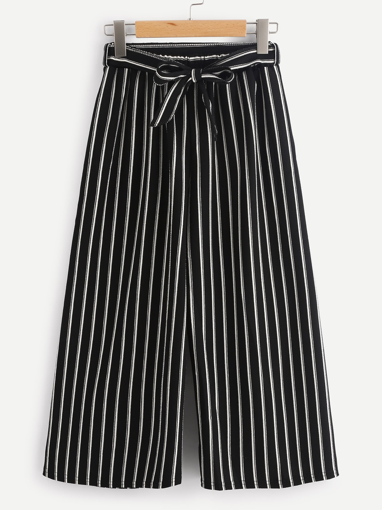 Vertical Stripe Self Tie Wide Leg Pants bow tie side wide leg pants