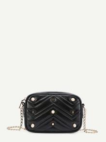 Faux Pearl Detail Chevron Chain Bag