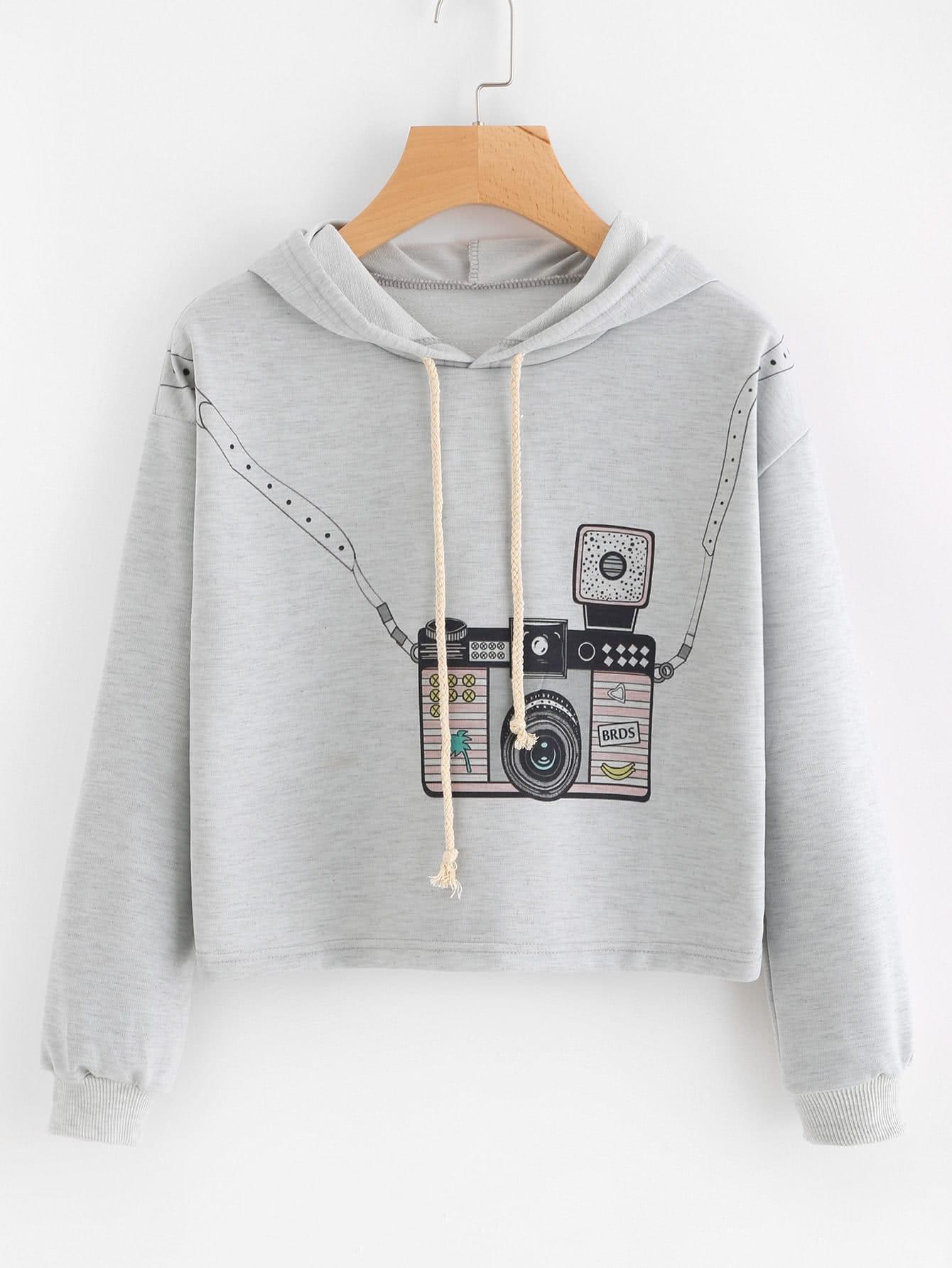 Hooded Drawstring Graphic Print Sweatshirt alien print drop shoulder hooded drawstring sweatshirt