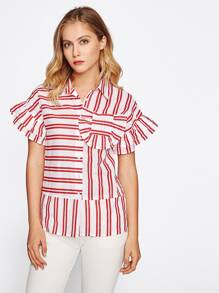 Frill Trim Striped Blouse