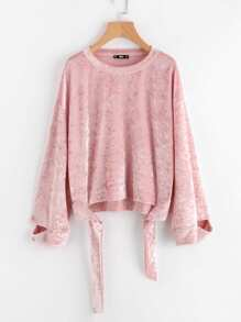 Self Tie Cutout Cuff Crushed Velvet Sweatshirt