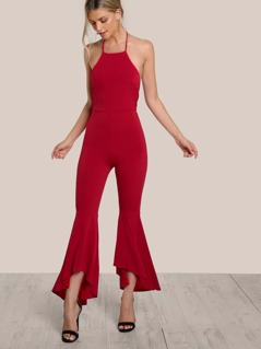 Halter Top Open Back Flare Leg Jumpsuit RED