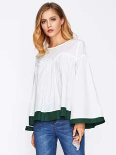 Contrast Trim Trumpet Sleeve Frilled Top