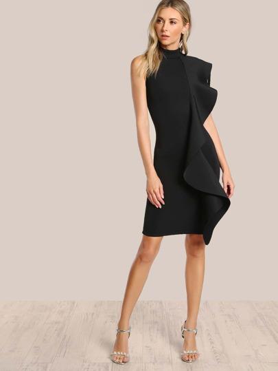 Sleeveless Ruffle Front Dress BLACK