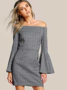 Off Shoulder Trumpet Sleeve Dress GREY