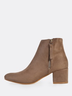 Faux Suede Point Toe Boots TAUPE