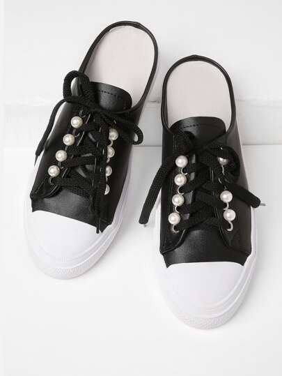 Faux Pearl Embellished Lace Up PU Shoes