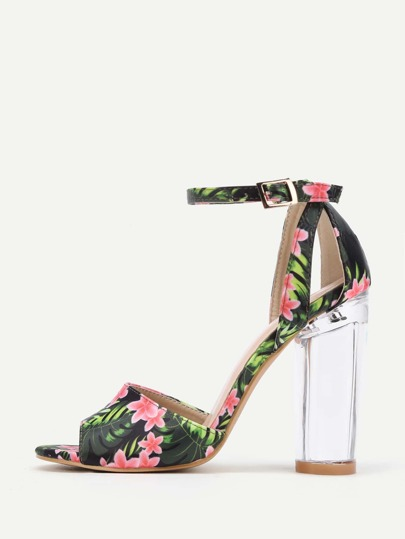 Jungle Print Clear Heeled Sandals