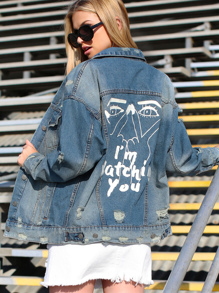 Im Watching You Distressed Denim Jacket DENIM