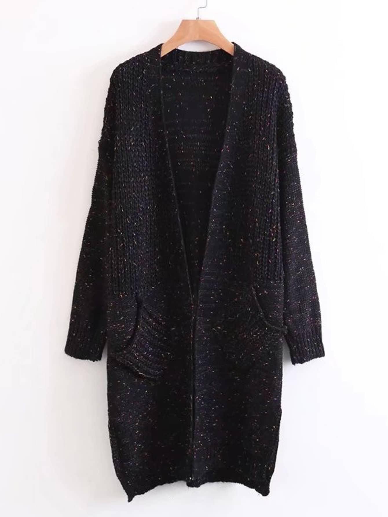 Marled Knit Longline Sweater Coat -SheIn(Sheinside)