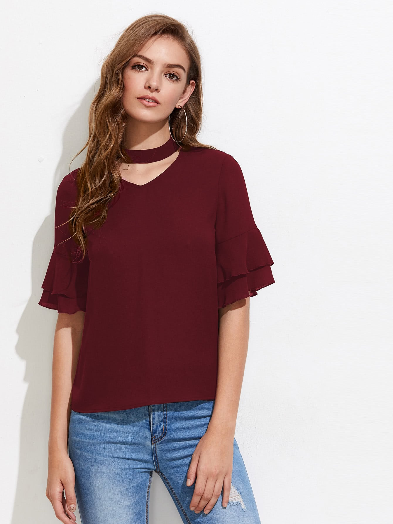 Choker Neck Layered Fluted Sleeve Top choker neck bishop sleeve floral top