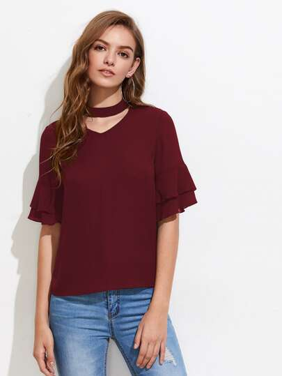 Choker Neck Layered Fluted Sleeve Top