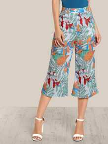Jungle Print wide leg pants