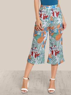 Jungle Print wide leg pants