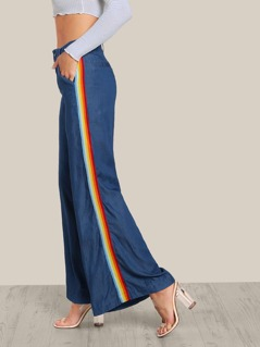 Side Stripe High Rise Palazzo Jeans