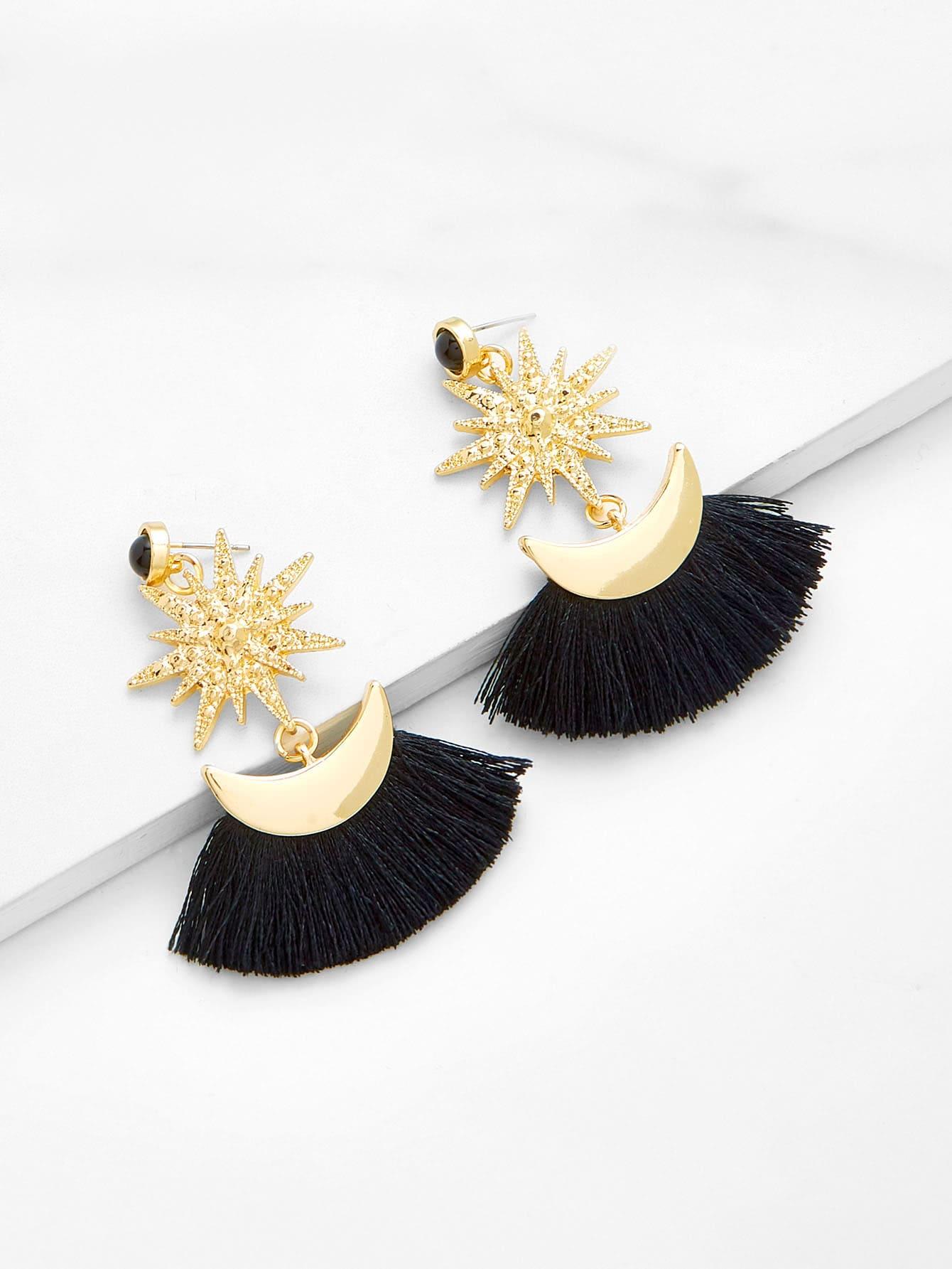 Moon & Star Design Fringe Drop Earrings