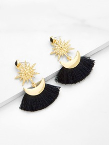 Moon & Star Design Fringe Drop Earrings