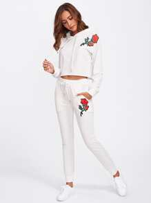 Flower Embroidery Patch Hoodie And Sweatpants Set