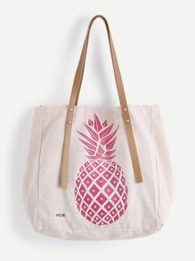 Pineapple Print Tote Bag