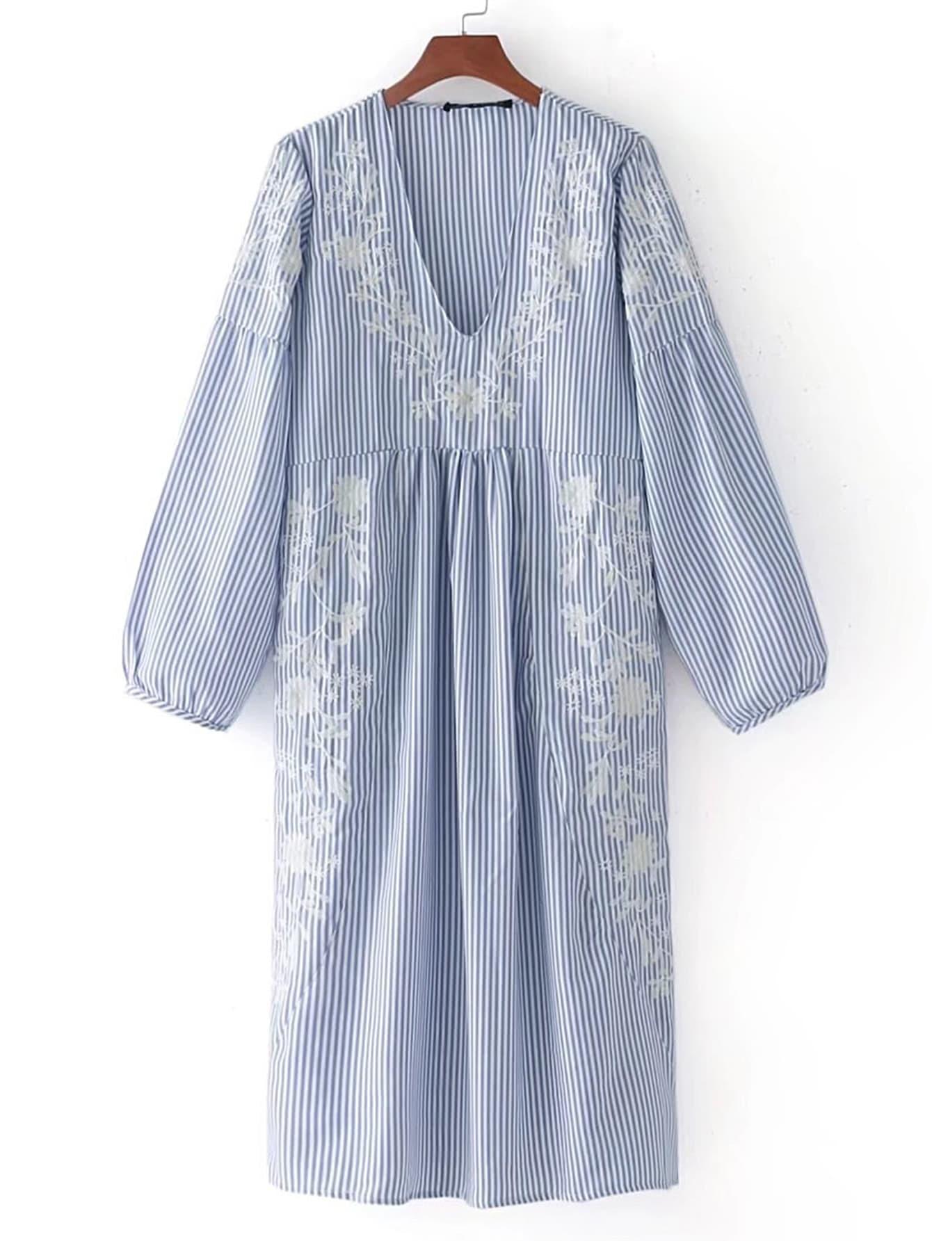 Flower Embroidery Drop Shoulder Seam Dress dress170801201