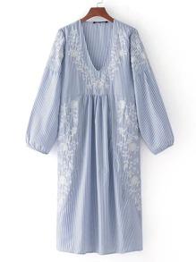 Flower Embroidery Drop Shoulder Seam Dress