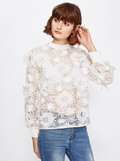 Shirred Cuff Flower Applique Embroidered Organza Top