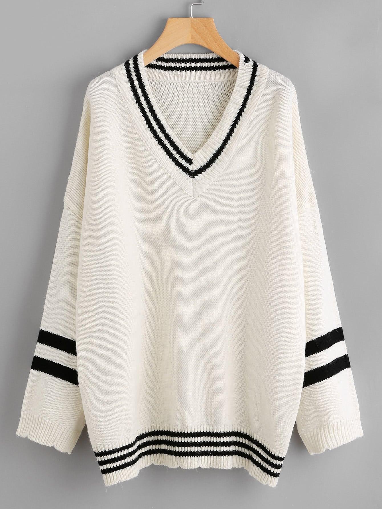 Drop Shoulder Striped Trim Sweater sweater170713402