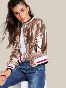 Metallic Zip Up Jacket ROSE GOLD