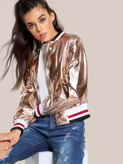 Metallic Zip Up Jacket ROSE GOLD