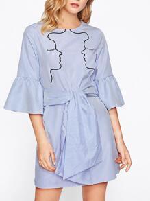 Fluted Sleeve Obi Belt Detail Pinstripe Dress