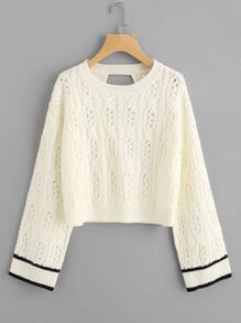 Cutout Back Cable Knit Jumper