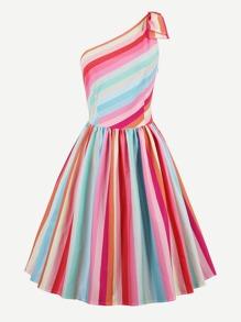 Rainbow Stripe Oblique Shoulder Circle Dress