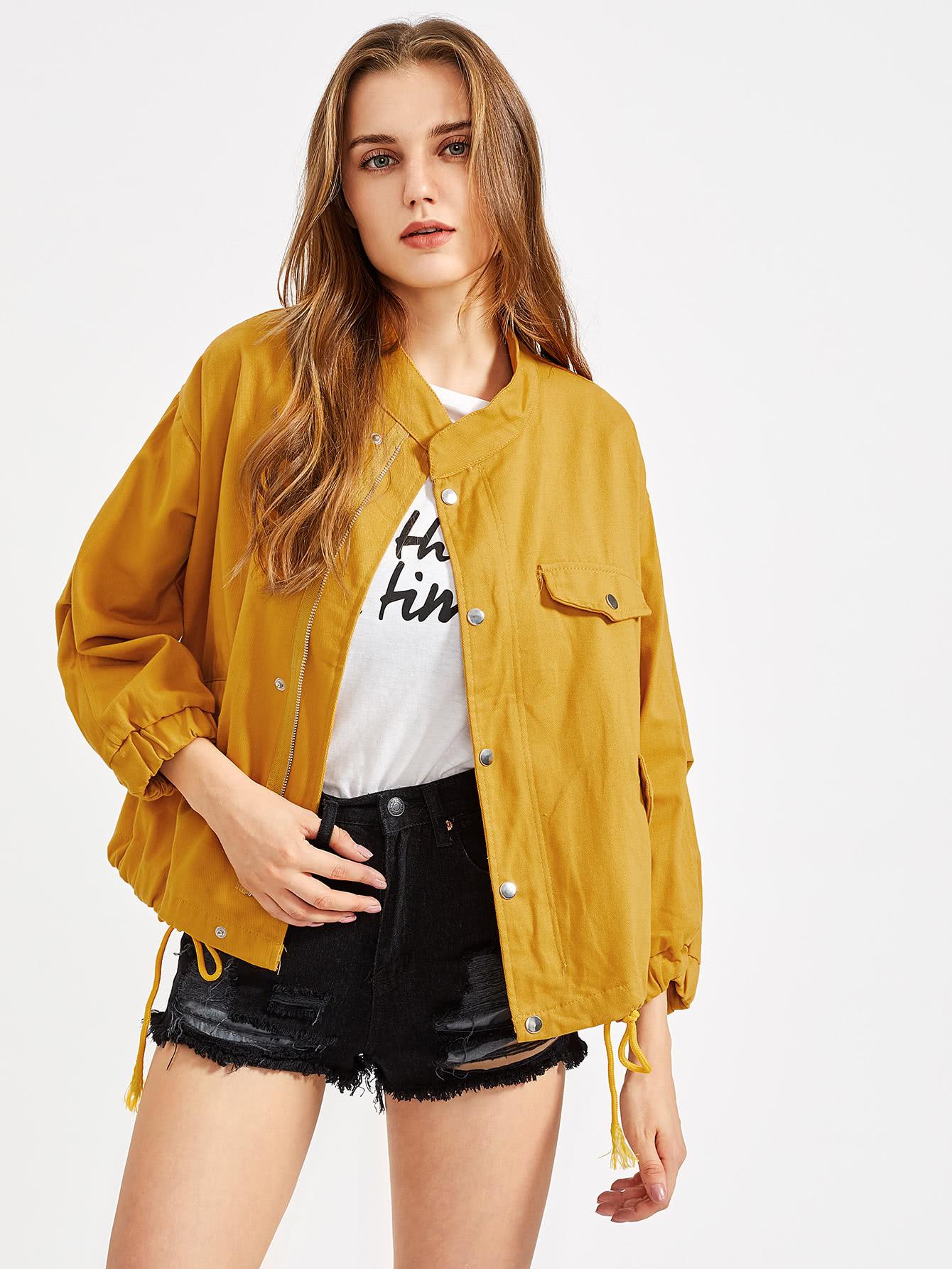 Drawstring Hem Elastic Cuff Jacket