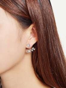 Letter Love Design Rhinestone Ear Jacket 1pc