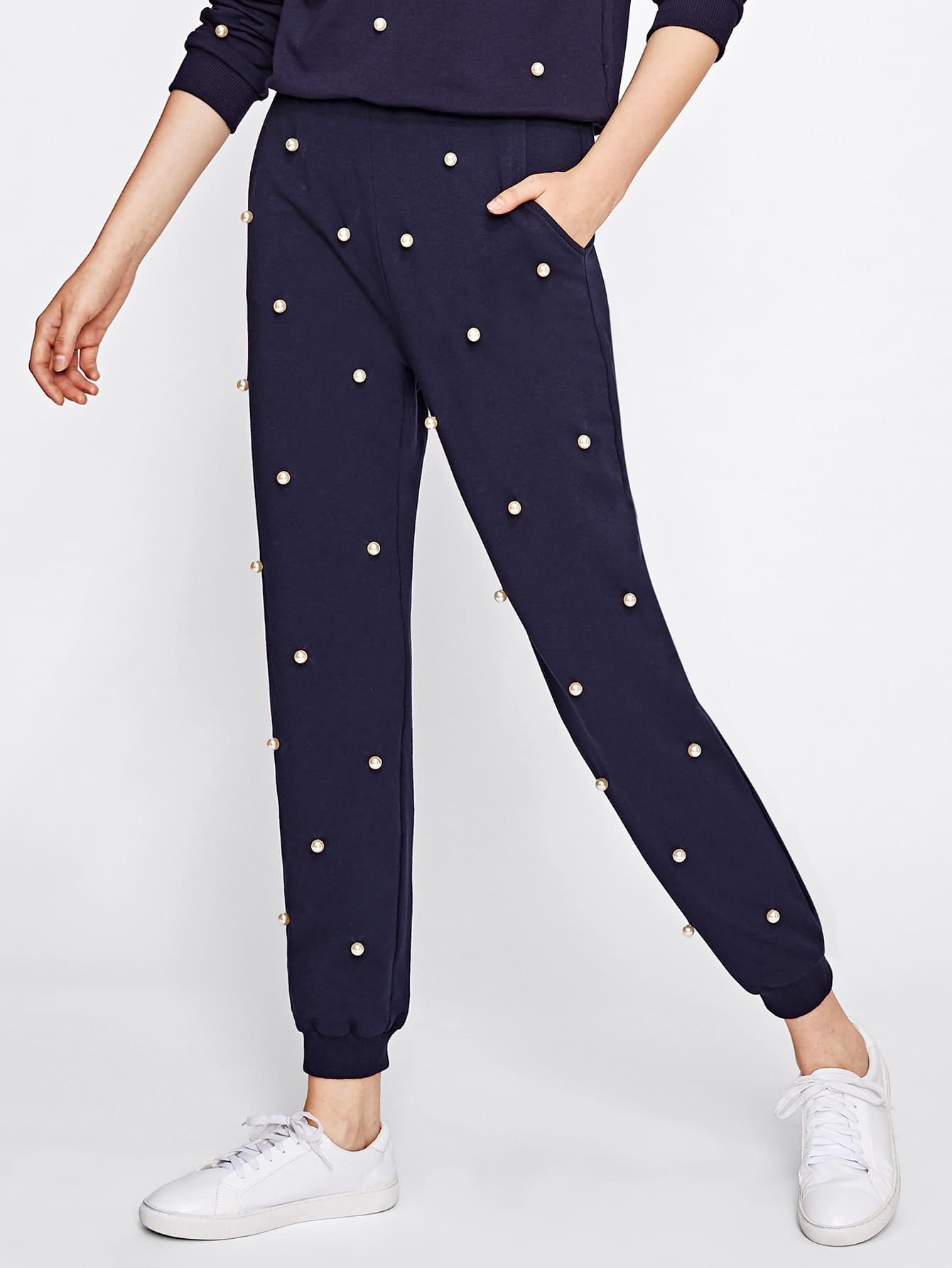 Купить Модные брюки с бусинами, Soniaa, SheIn