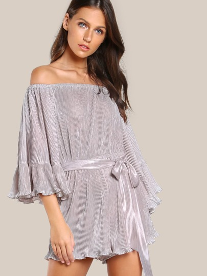 Pleated Off Shoulder Metallic Romper PINK