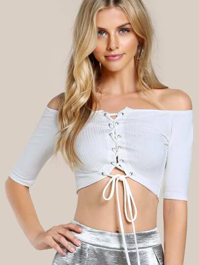 Lace Up Quarter Sleeve Top IVORY