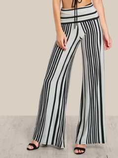 Stretch Knit Striped Pants CHARCOAL