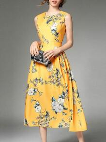 Crew Neck Flowers Print Dress