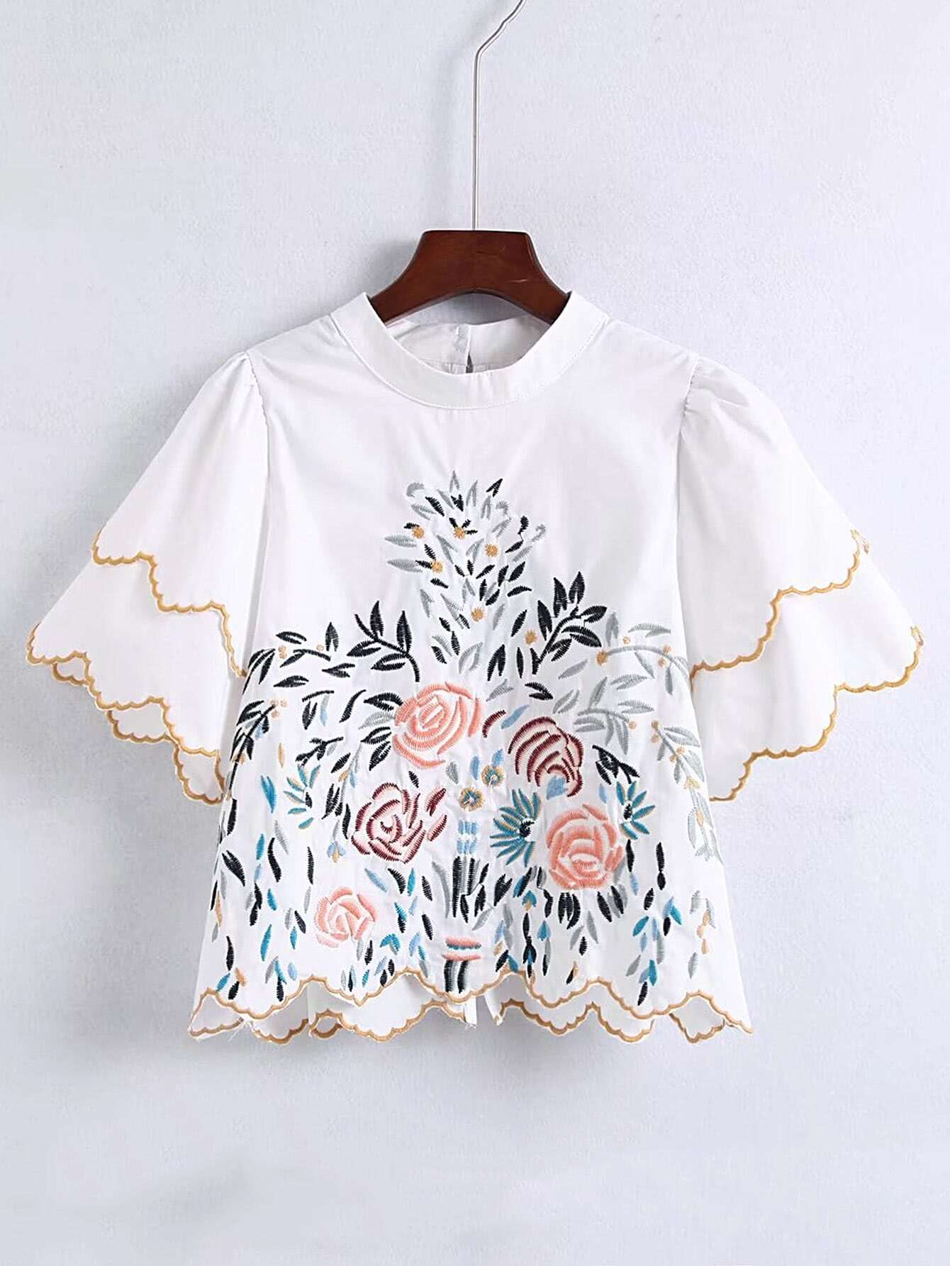 Scalloped Trim Embroidered Detail Blouse embroidered tape detail beading trim bardot top