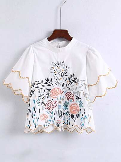 Scalloped Trim Embroidered Detail Blouse