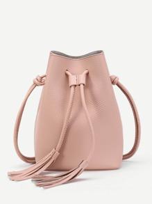 Double Tassel Drawstring PU Crossbody Bag