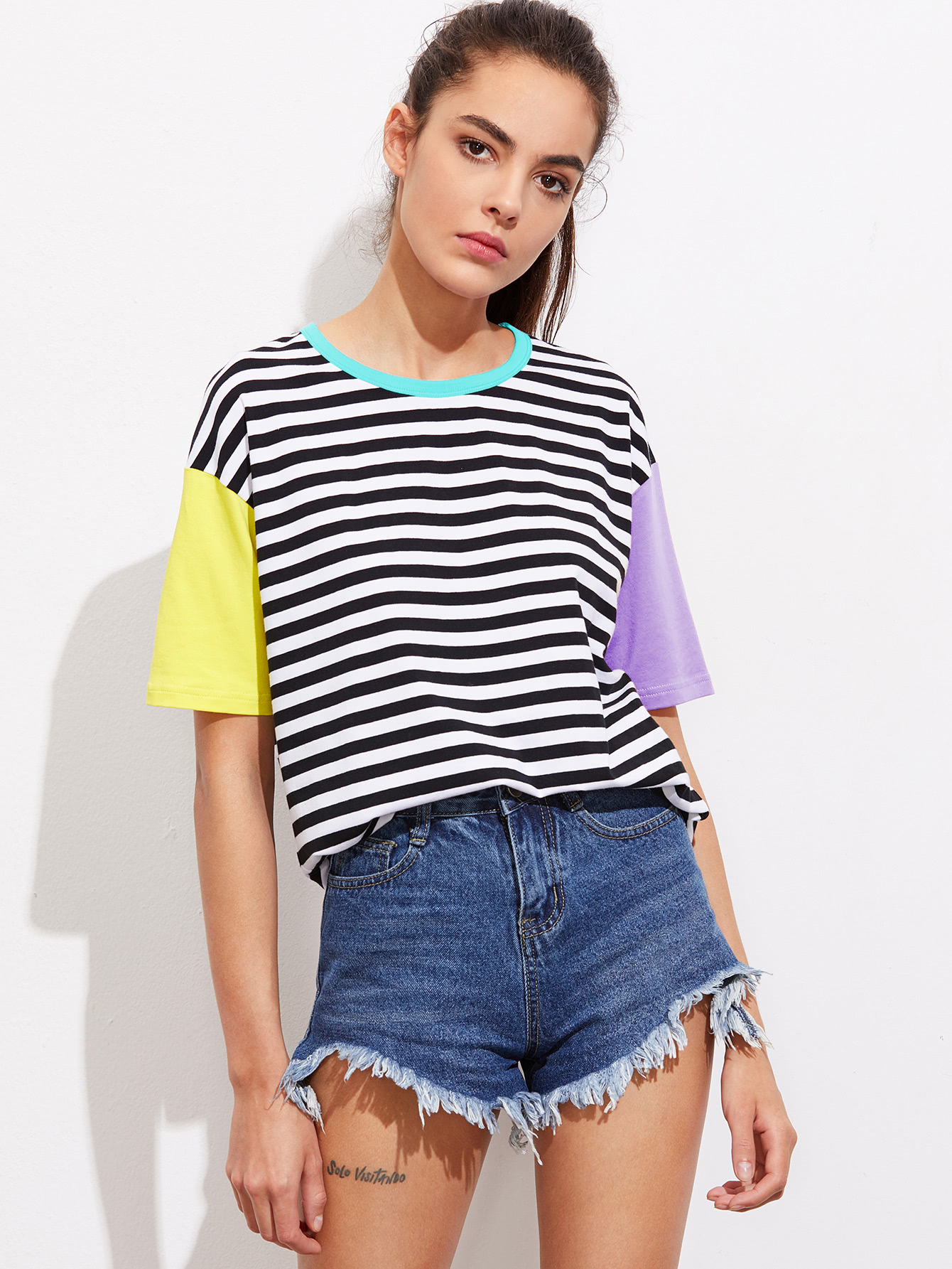 Contrast Neck And Sleeve Striped Tee contrast striped trim camo print tee
