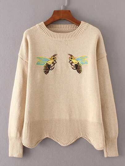 Bee Embroidery Scalloped Hem Sweater